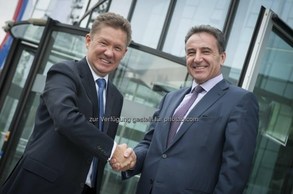Treffen von Gazprom CEO Miller mit OMV CEO Roiss zur weiteren Festigung der Partnerschaft:  Herausforderndes Gasumfeld thematisiert (c) OMV (22.04.2014)