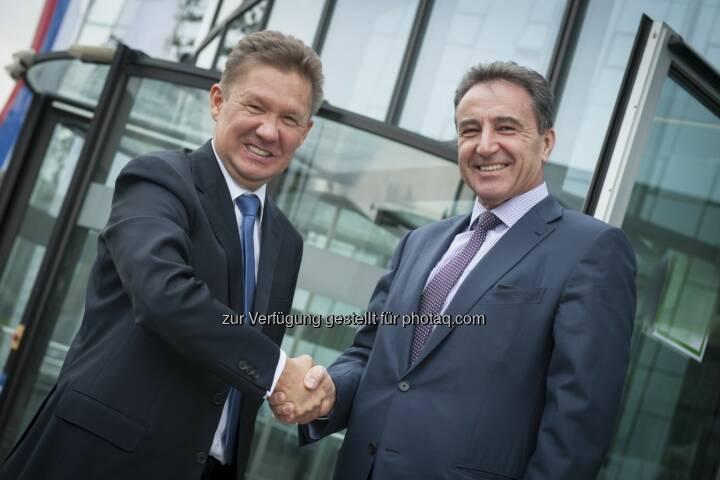 Treffen von Gazprom CEO Miller mit OMV CEO Roiss zur weiteren Festigung der Partnerschaft:  Herausforderndes Gasumfeld thematisiert (c) OMV