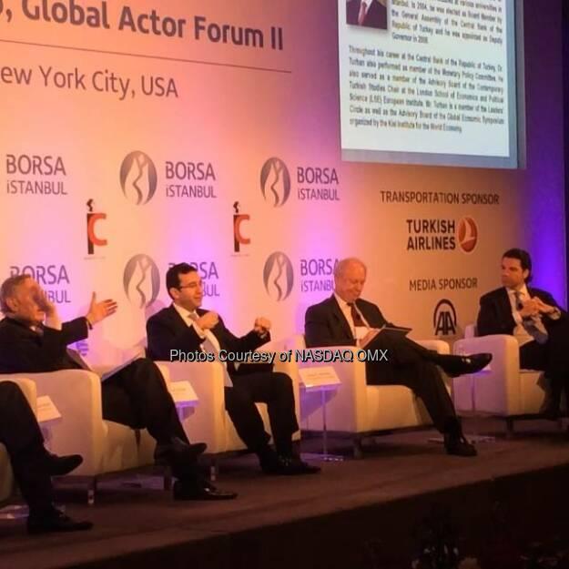Ibrahim M. Turhan, Chairman and CEO of Borsa Istanbul at #ifcforumNY 'Istanbul: Regional Hub, Global Actor Forum' with #NASDAQ's @SandyFrucher  @BorsaIstanbulEN  Source: http://facebook.com/NASDAQ (22.04.2014)