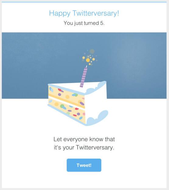 Christian Drastil, finanzmarktfoto.at: Twitter sagte mir, dass ich heute 5 Jahre alt wurde. Auf Twitter. Danke Twitter für das Sagen, damit ich das twittern kann #Twitterversary (27.04.2014)