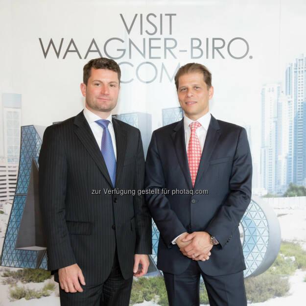 Thomas Jost (Vorstandsvorsitzenden der Waagner-Biro AG), Martin Zinner (CFO der Waagner-Biro AG) - Umsatz und Jahresergebnis 2013 erhöht, der Umsatz stieg 2013 auf 197,4 Mio EUR (2012 171,7 Mio EUR), der Auftragseingang erhöhte sich von 195,3 Mio EUR (2012) auf 222,7 Mio EUR im Geschäftsjahr 2013. Das EBT erhöhte sich von 6,1 Mio EUR im Jahr 2012 auf 11,1 Mio EUR im Geschäftsjahr 2013 (Bild: www.annarauchenberger.com / Anna Rauchenberger) (29.04.2014)
