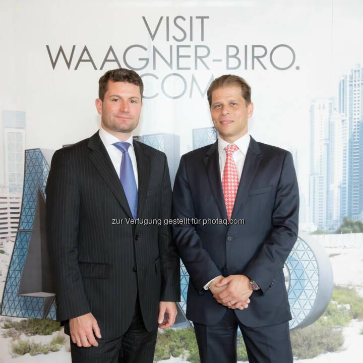 Thomas Jost (Vorstandsvorsitzenden der Waagner-Biro AG), Martin Zinner (CFO der Waagner-Biro AG) - Umsatz und Jahresergebnis 2013 erhöht, der Umsatz stieg 2013 auf 197,4 Mio EUR (2012 171,7 Mio EUR), der Auftragseingang erhöhte sich von 195,3 Mio EUR (2012) auf 222,7 Mio EUR im Geschäftsjahr 2013. Das EBT erhöhte sich von 6,1 Mio EUR im Jahr 2012 auf 11,1 Mio EUR im Geschäftsjahr 2013 (Bild: www.annarauchenberger.com / Anna Rauchenberger)