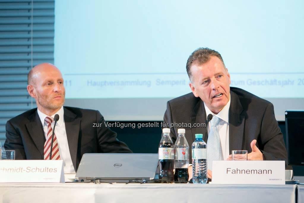 Johannes Schmidt-Schultes (CFO Semperit), Thomas Fahnemann (CEO Semperit), © Martina Draper für Semperit (29.04.2014)