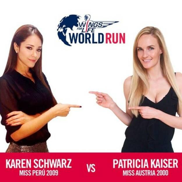 Karen Schwarz, Miss Peru 2009, vs. Patricia Kaiser (Miss Austria 2000) , © Wings for Life World Run / Red Bull (04.05.2014)