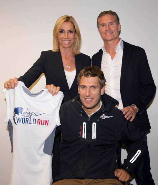 Anita Gerhardter, Wolfgang Illek und David Coulthard, © Wings for Life World Run / Red Bull (04.05.2014)