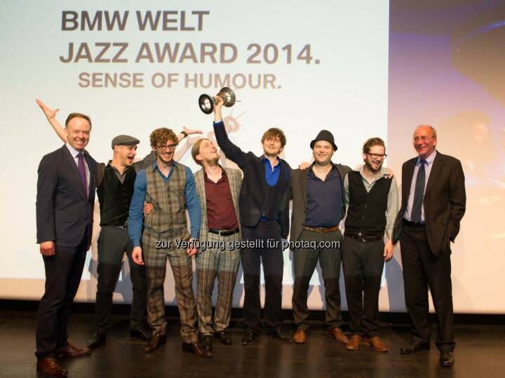 Ian Robertson, Mitglied des Vorstands der BMW AG, Hildegard Lernt Fliegen, Hans-Georg Küppers, Kulturreferent der Stadt München: Hildegard Lernt Fliegen gewinnt den BMW Welt Jazz Award 2014