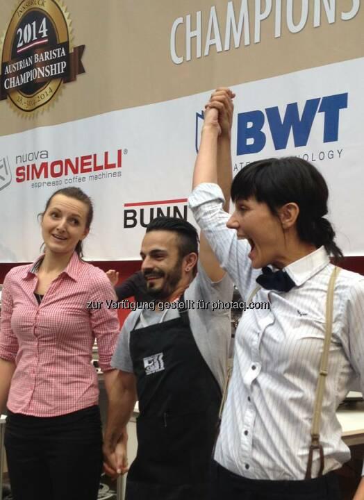 BWT: Sonja Zweidick ist die Gewinnerin der SCAE Austria Baristameisterschaften 2014. Wir freuen uns darauf, sie zu den Weltmeisterschaften nach Rimini und Melbourne zu begleiten und wünschen viel Erfolg  Source: http://facebook.com/bwtwasser