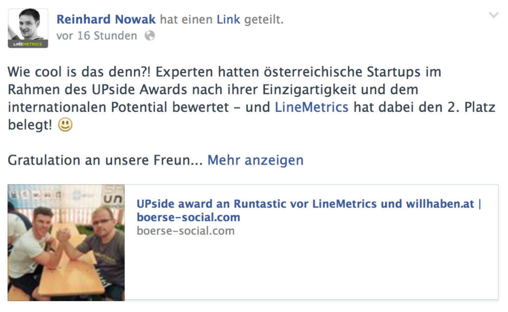 Reinhard Nowak, LineMetrics, zum UPside award (06.05.2014)