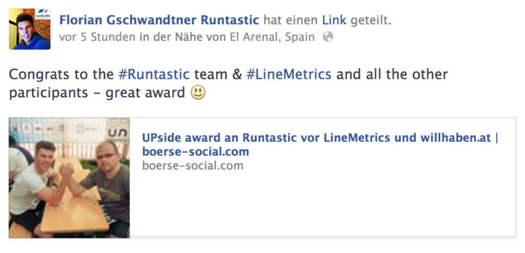 Florian Gschwandtner, Runtastic, zum Upside Award (06.05.2014)