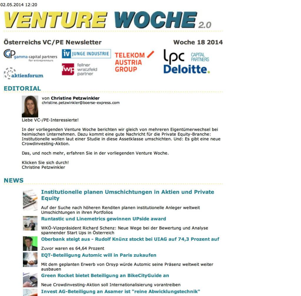 Venture Woche zum UPside award http://www.boerse-express.com/cat/calendar/newsletter_show/35412 (06.05.2014)