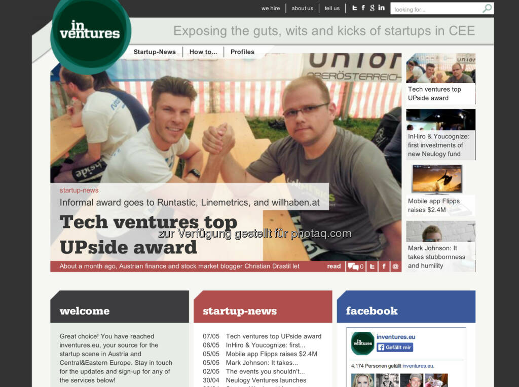 inventures.eu zum UPside award http://inventures.eu/tech-ventures-top-upside-award (07.05.2014)
