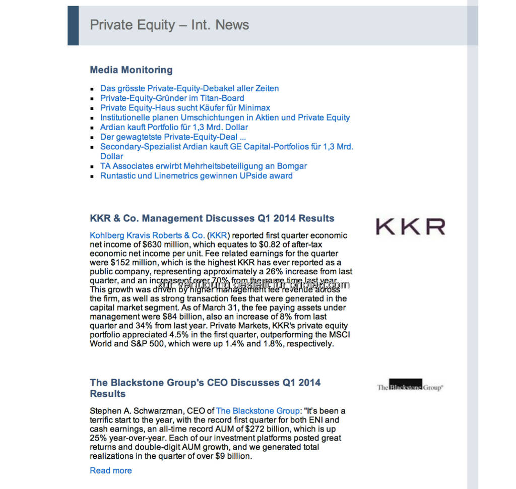 SECA Swiss Private Equity & Corporate Finance Association zum UPside Award im Newsletter (07.05.2014)
