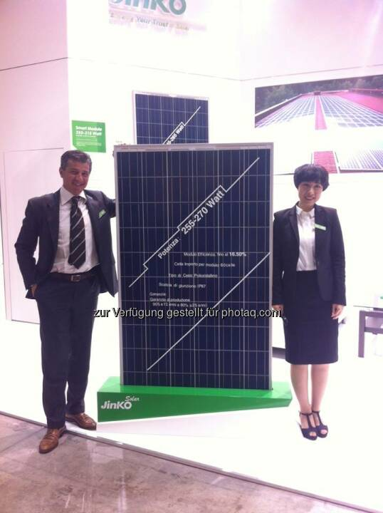 Jinko: We are looking forward to meeting you at booth E10 at Solar Expo in Milan.  Source: http://facebook.com/439664686151652