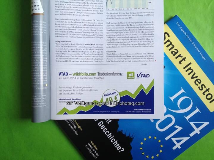 Am 24. Mai findet der 1. VTAD / wikifolio.com Social Trading Tag statt, eine Plattform für Trader und Anleger zum Austausch über Anlagestrategien, Softwaretools und Money-/Risikomanagement. Hier geht's zur Eventinfo und Anmeldung: http://www.wikifolio.com/de/Events/vtad-wikifolio-social-trading-tag  Source: http://twitter.com/wikifolio