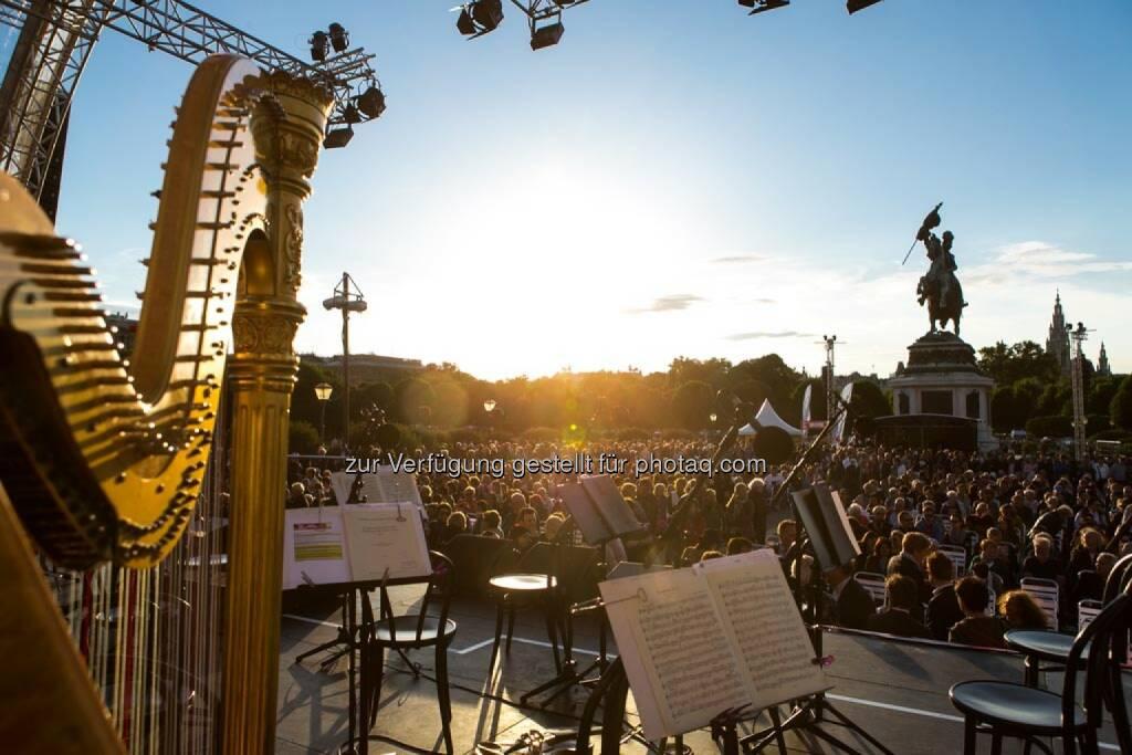 Harfe, Blick von der Bühne, Fest der Freude 2014, © Martina Draper für Wiener Symphoniker (09.05.2014)