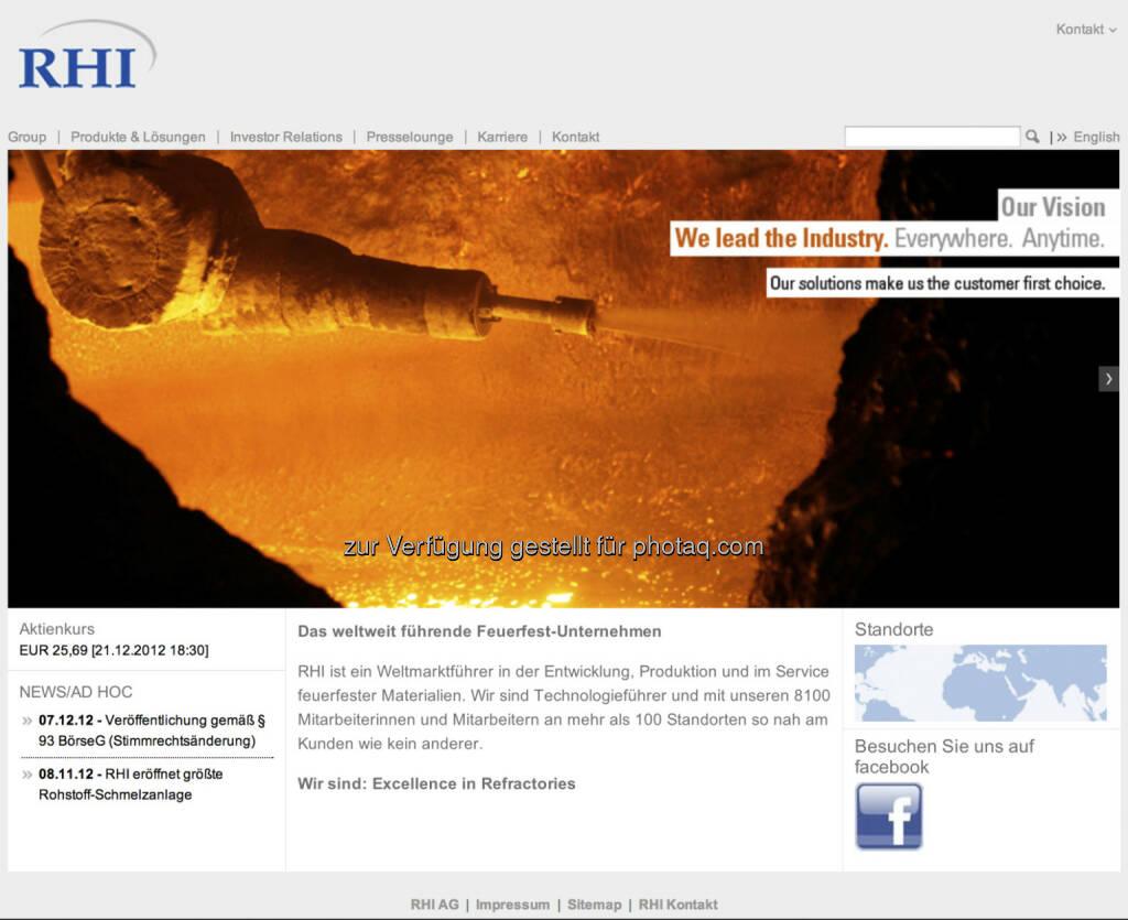 RHI AG Homepage - http://www.rhi-ag.com (22.12.2012)