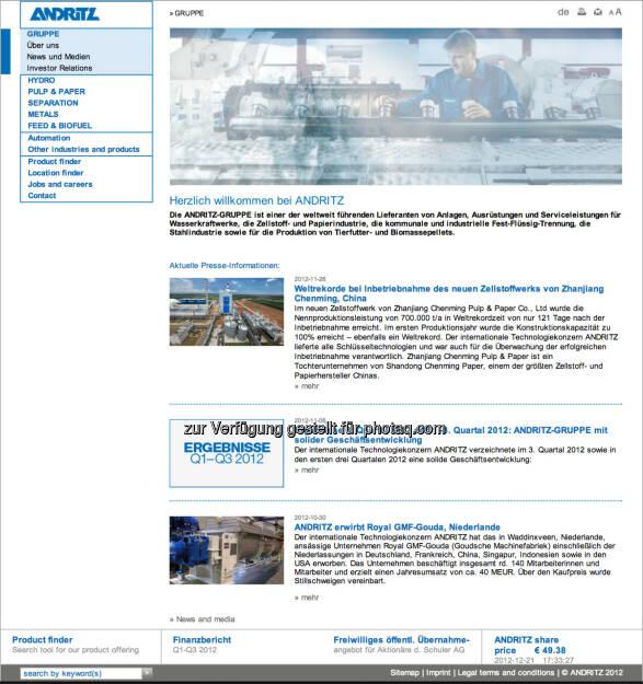 Homepage Andritz AG - www.andritz.com (23.12.2012)