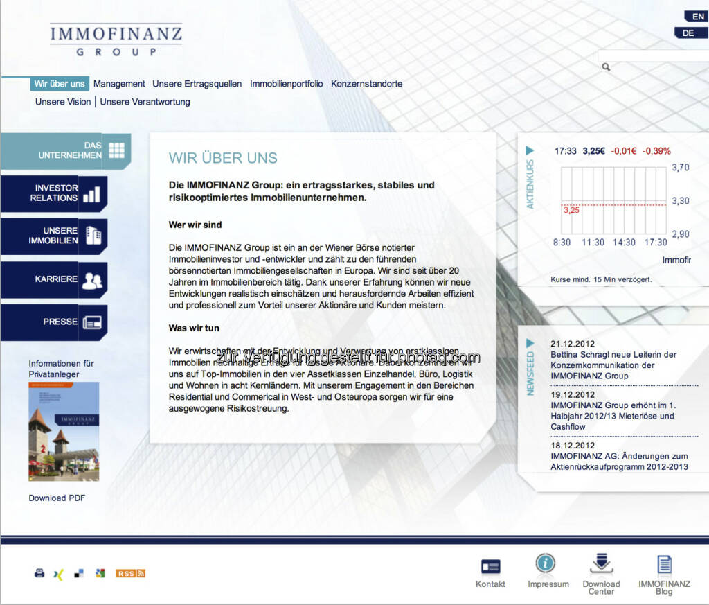 Homepage Immofinanz AG - www.immofinanz.com (23.12.2012)