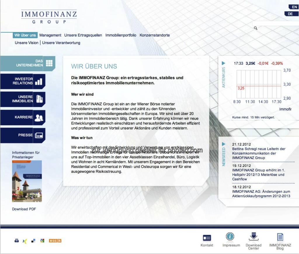 Homepage Immofinanz AG - www.immofinanz.com (23.12.2012)