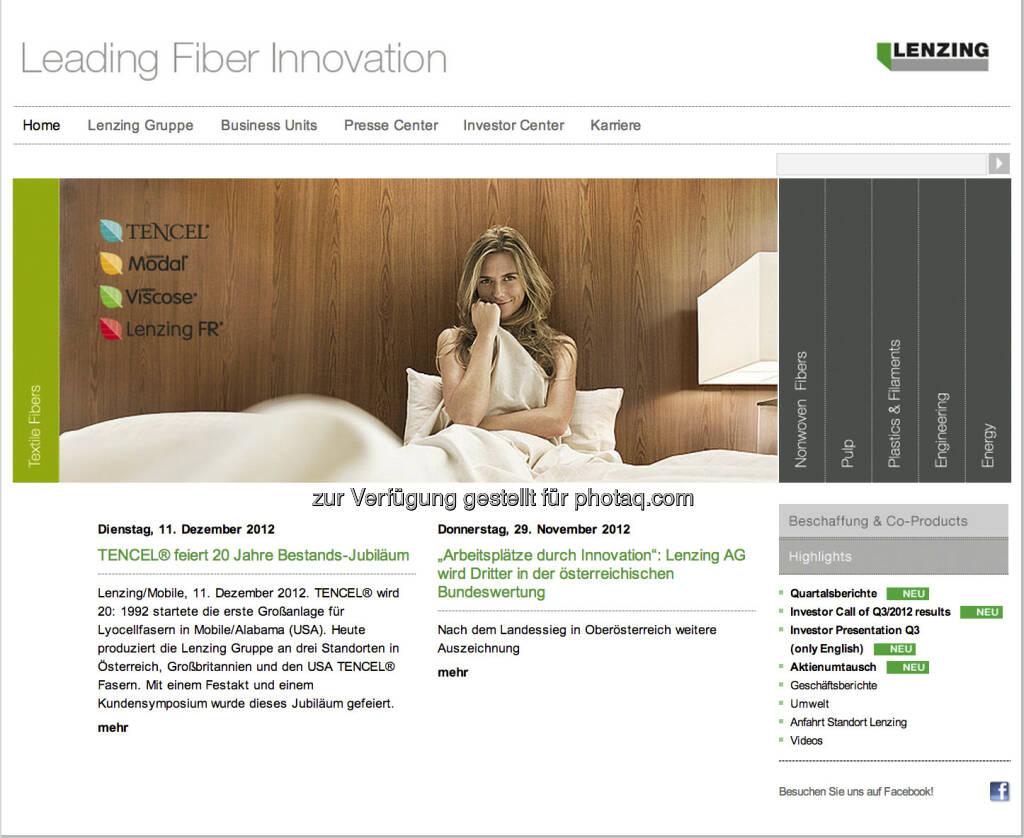 Homepage Lenzing AG - www.lenzing.com (23.12.2012)