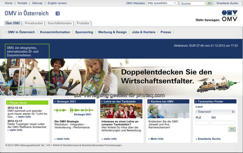 Homepage OMV AG - www.omv.at (23.12.2012)