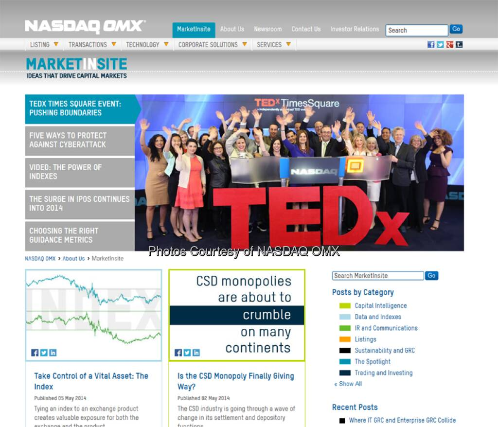 Nasdaq: We just launched our new Thought Leadership blog, http://bit.ly/1nowCyp  Source: http://facebook.com/NASDAQ (10.05.2014)