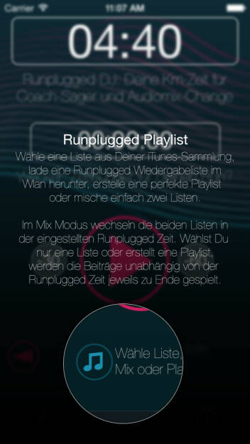 (APP) Runplugged Playlist: Wähle eine Liste aus Deiner iTunes-Sammlung, lade eine Runplugged Wiedergabeliste herunter, erstelle eine perfekte Playlist oder mische einfach zwei Listen. Im Mix Modus wechseln die beiden Listen in der eingestellten Runplugged Zeit. Wählst Du nur eine Liste oder erstellt eine Playlist, werden die Beiträge unabhängig von der Runplugged Zeit jeweils zu Ende gespielt - Appdownload unter http://bit.ly/1lbuMA9 (10.05.2014)