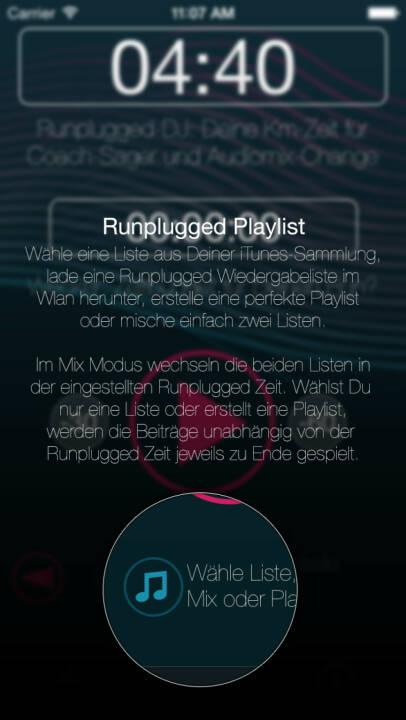 (APP) Runplugged Playlist: Wähle eine Liste aus Deiner iTunes-Sammlung, lade eine Runplugged Wiedergabeliste herunter, erstelle eine perfekte Playlist oder mische einfach zwei Listen. Im Mix Modus wechseln die beiden Listen in der eingestellten Runplugged Zeit. Wählst Du nur eine Liste oder erstellt eine Playlist, werden die Beiträge unabhängig von der Runplugged Zeit jeweils zu Ende gespielt - Appdownload unter http://bit.ly/1lbuMA9
