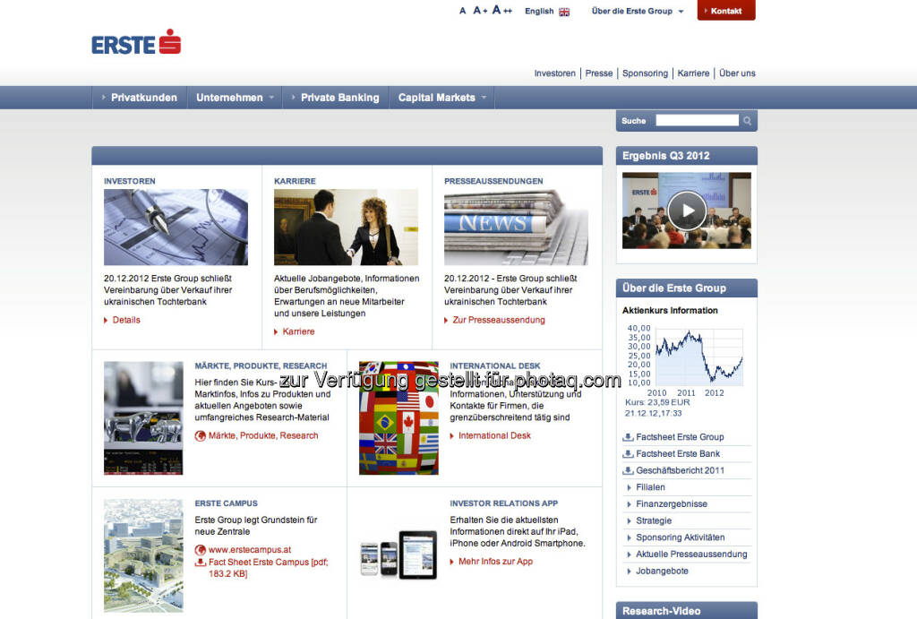 Erste Group Homepage http://www.erstegroup.com/de (23.12.2012)