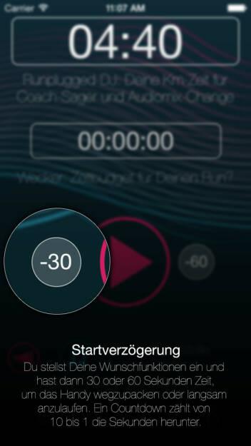 (APP) Runplugged Startverzögerung: Du stellst Deine Wunschfunktionen ein und hast dann 30 oder 60 Sekunden Zeit, um das Handy wegzupacken oder langsam anzulaufen. Ein Countdown zählt von 10 bis 1 die Sekunden herunter - Appdownload unter http://bit.ly/1lbuMA9 (10.05.2014)