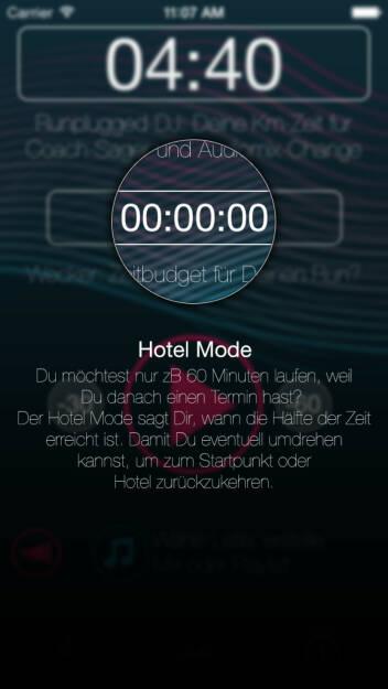 (APP) Runplugged Hotel Mode: Du möchtest nur zB 60 Minuten laufen, weil Du danach einen Termin hast? Der Hotel Mode sagt Dir, wann die Hälfte der Zeit erreicht ist. Damit Du eventuell umdrehen kannst, um zum Startpunkt oder Hotel zurückzukehren - Appdownload unter http://bit.ly/1lbuMA9 (10.05.2014)