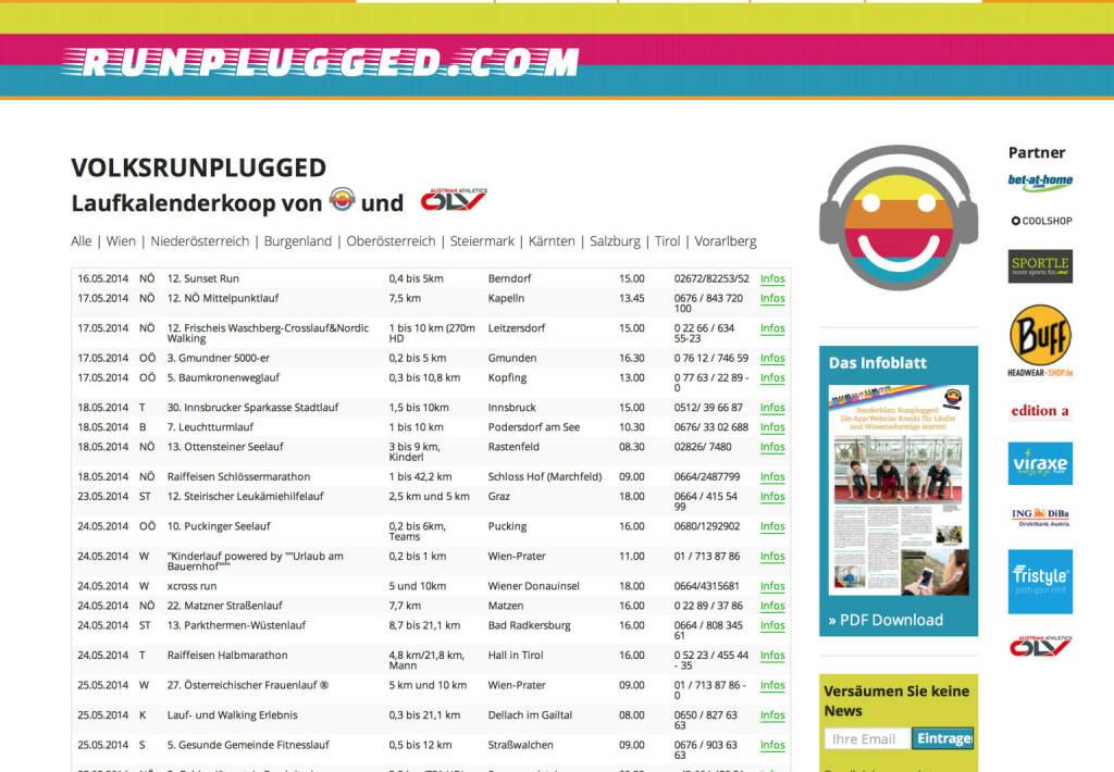 (WEB) http://www.runplugged.com/volksrunplugged - der Laufkalender, zunächst für Österreich - Appdownload unter http://bit.ly/1lbuMA9 (10.05.2014)
