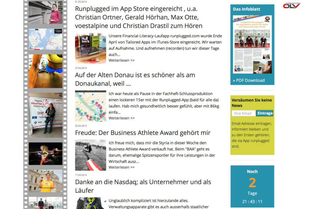 (WEB) Die Website: http://www.runplugged.comwird zu einer umfassenden Site für Laufverrückte ausgebaut. Bilder, News und alle Infos zur App. Mehr als eine Website zur App - Appdownload unter http://bit.ly/1lbuMA9 (10.05.2014)