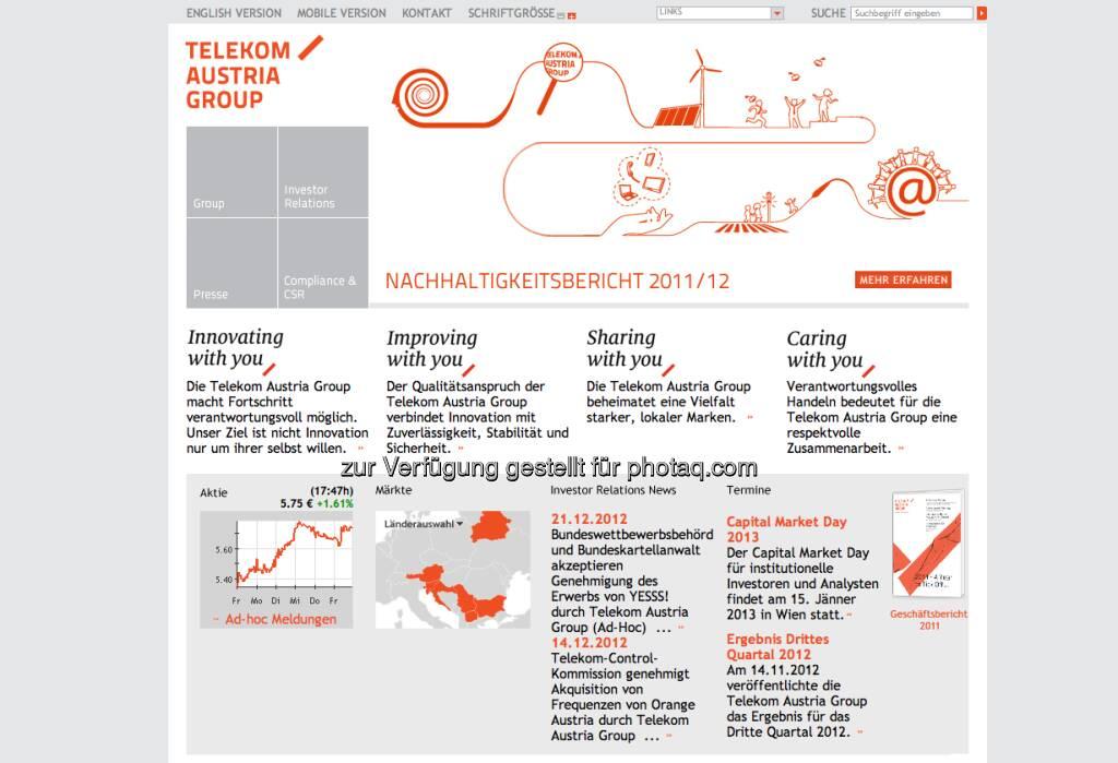 Telekom Austria Group Homepage http://www.telekomaustria.com/ (23.12.2012)