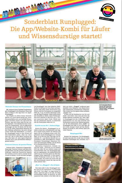 Sonderblatt Runplugged mit den Entwicklern von Tailored Apps und mir als Auftraggeber http://runplugged.com/static/fachheft18_rp.pdf (10.05.2014)