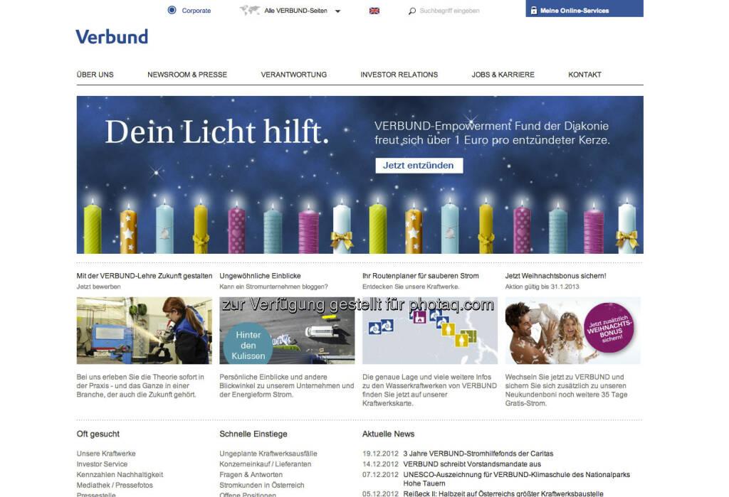 Verbund Homepage http://www.verbund.com/cc/de/ (23.12.2012)