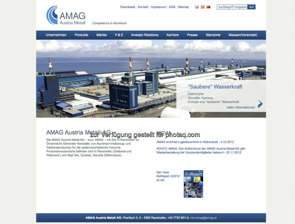Amag Homepage http://www.amag.at/ (23.12.2012)