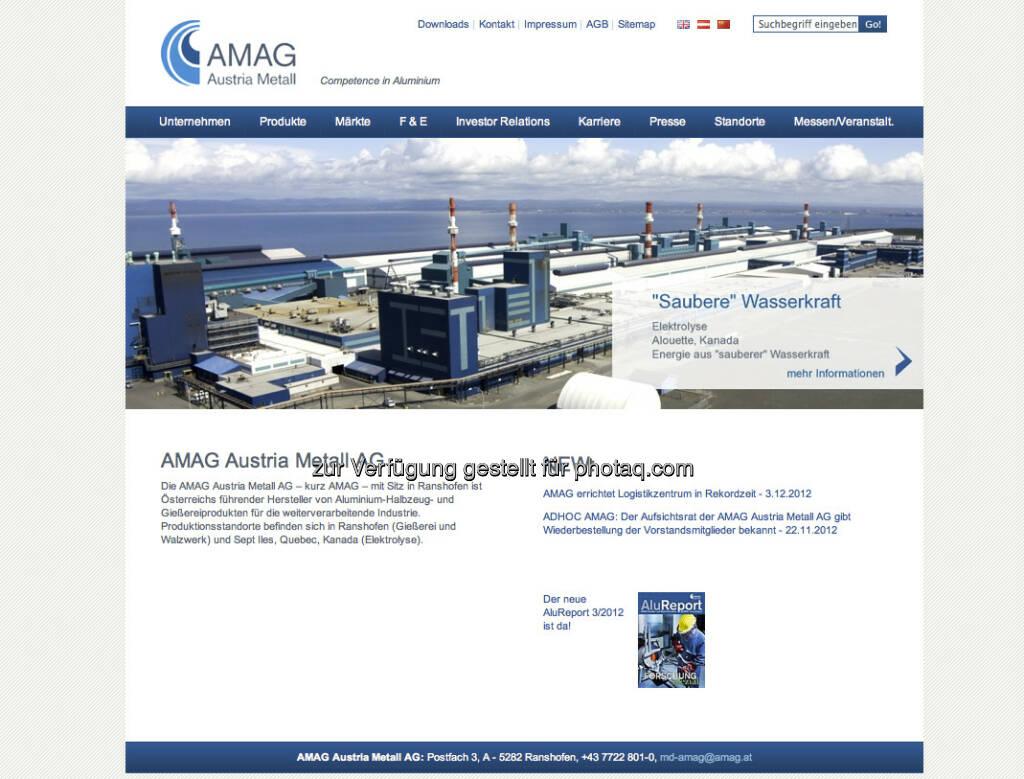 Amag Homepage http://www.amag.at/ (23.12.2012)