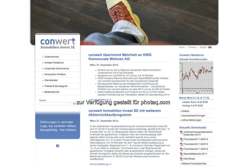 conwert Homepage - http://www.conwert.at (23.12.2012)