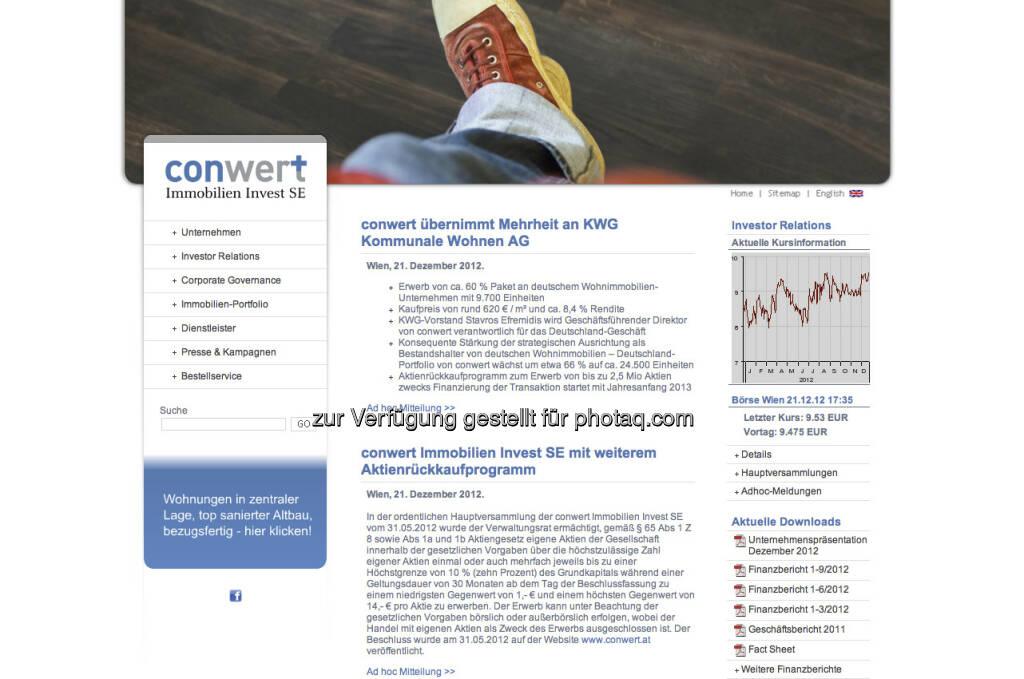 conwert Homepage - http://www.conwert.at (23.12.2012)