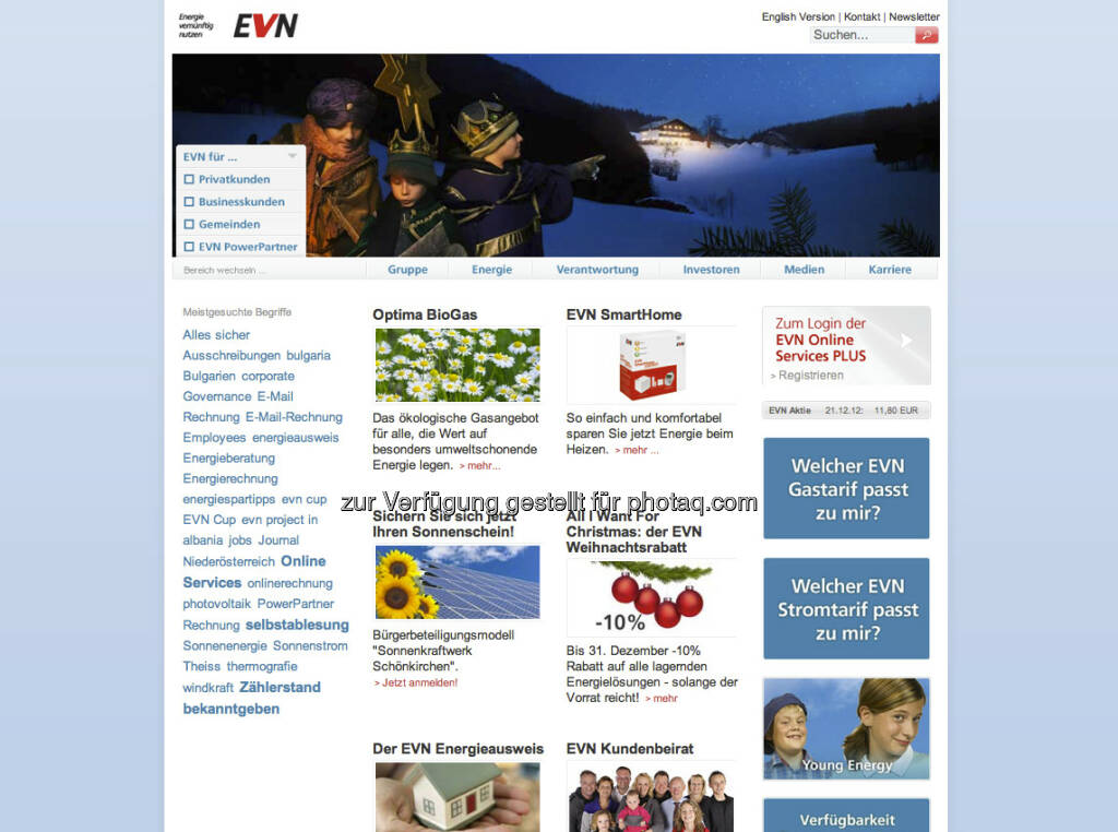EVN Homepage http://www.evn.at (23.12.2012)