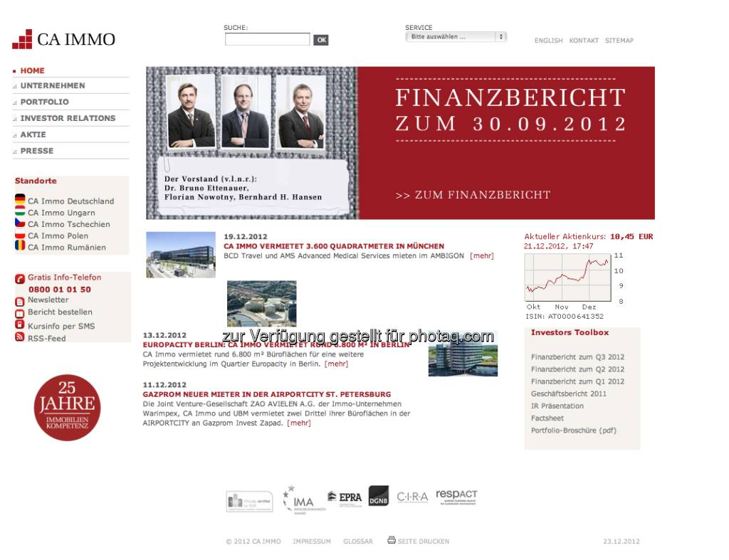 CA Immo Homepage http://www.caimmo.com/ (23.12.2012)