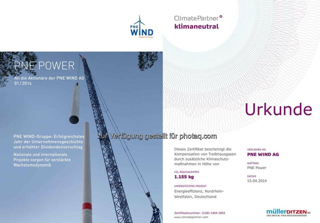 Die neue PNE Power ist erschienen - kompakte Infos für unsere Aktionäre und alle Interessenten. Wie gewohnt, im klimaneutralen Druck über ClimatePartner, Download: http://bit.ly/1jc3340  Source: http://facebook.com/PNEWINDAG (13.05.2014)