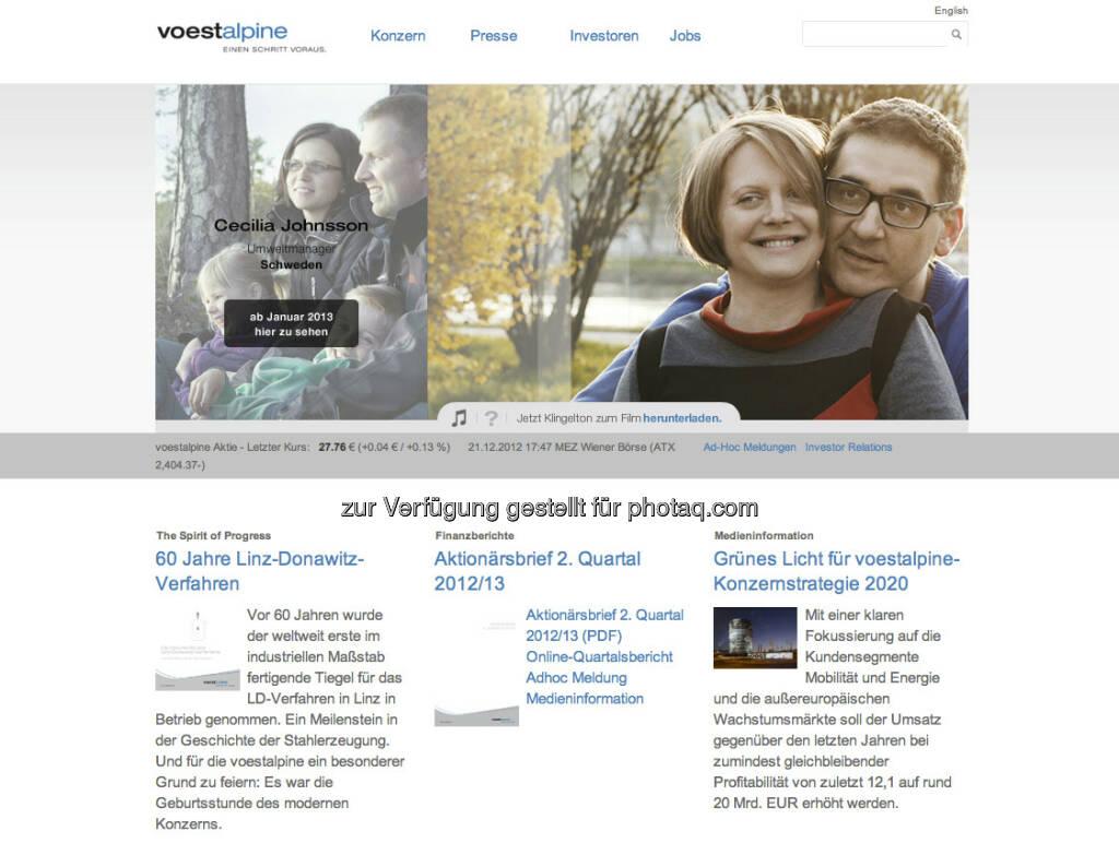 voestalpine Homepage http://www.voestalpine.com (23.12.2012)