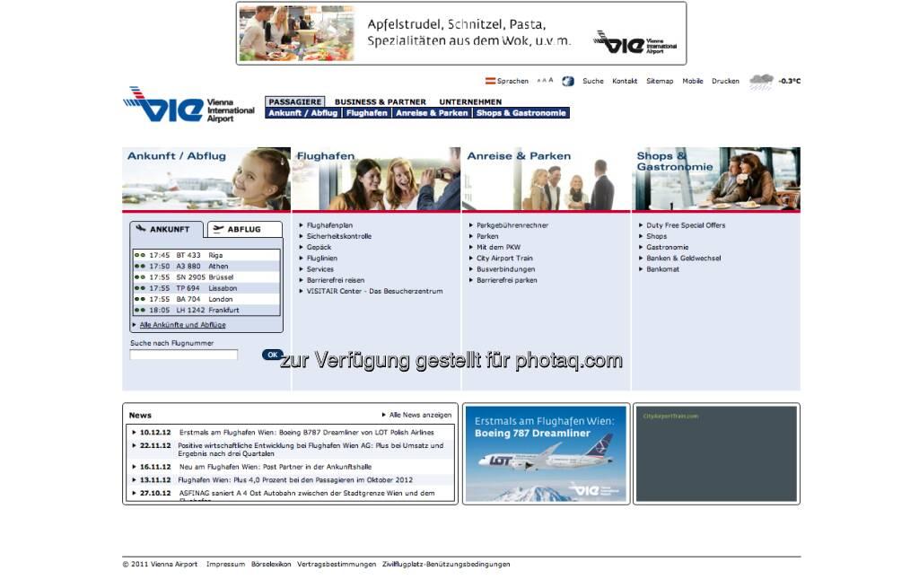 Flughafen Wien Homepage http://www.viennaairport.com (23.12.2012)