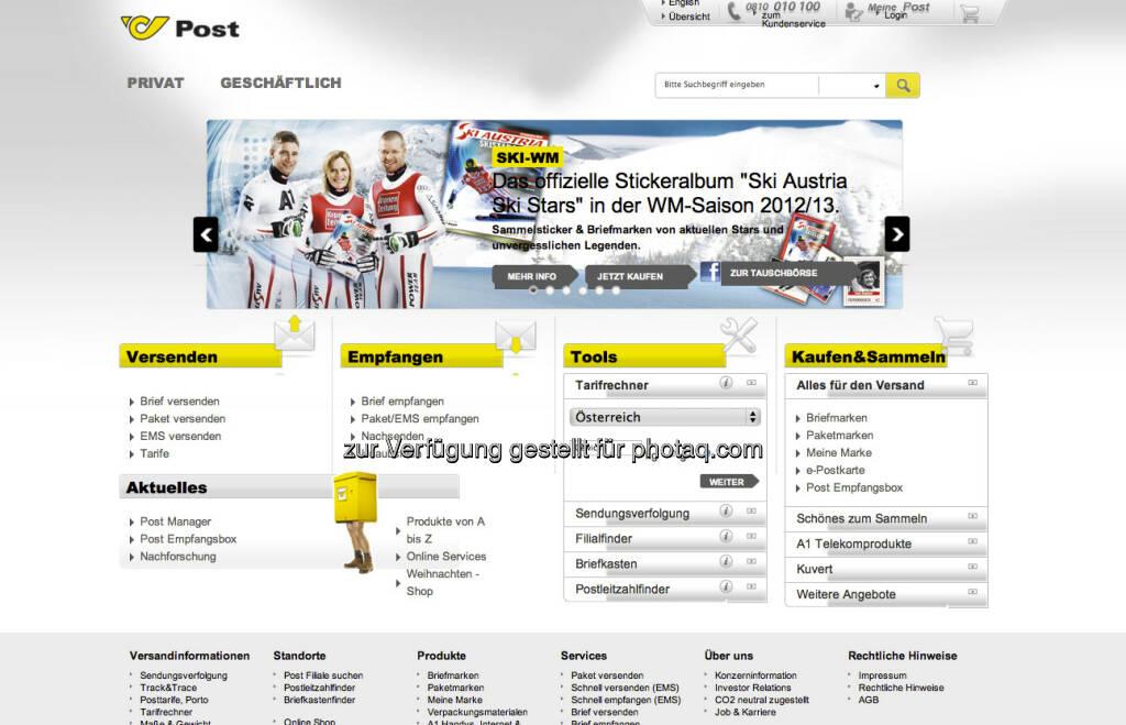 Österreichische Post Hompage - http://www.post.at (23.12.2012)