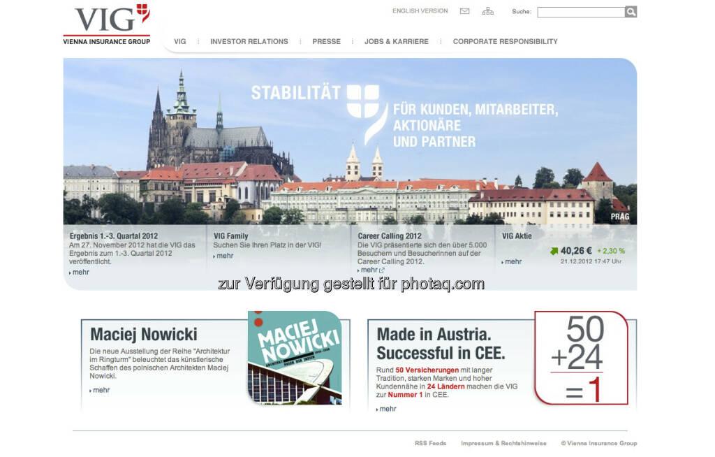 VIG Homepage http://www.vig.com (23.12.2012)
