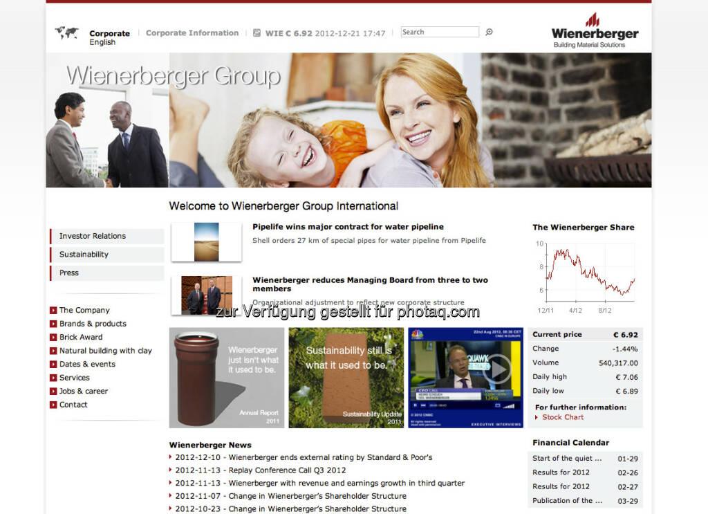 Wienerberger Hompage http://www.wienerberger.com (23.12.2012)
