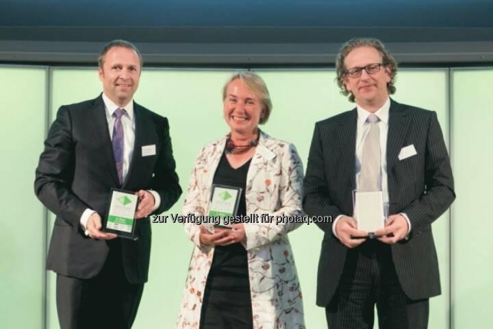 Siegertrio: Frank Weingarts (UniCredit), Heike Arbter (RCB), Markus Kaller (Erste)
