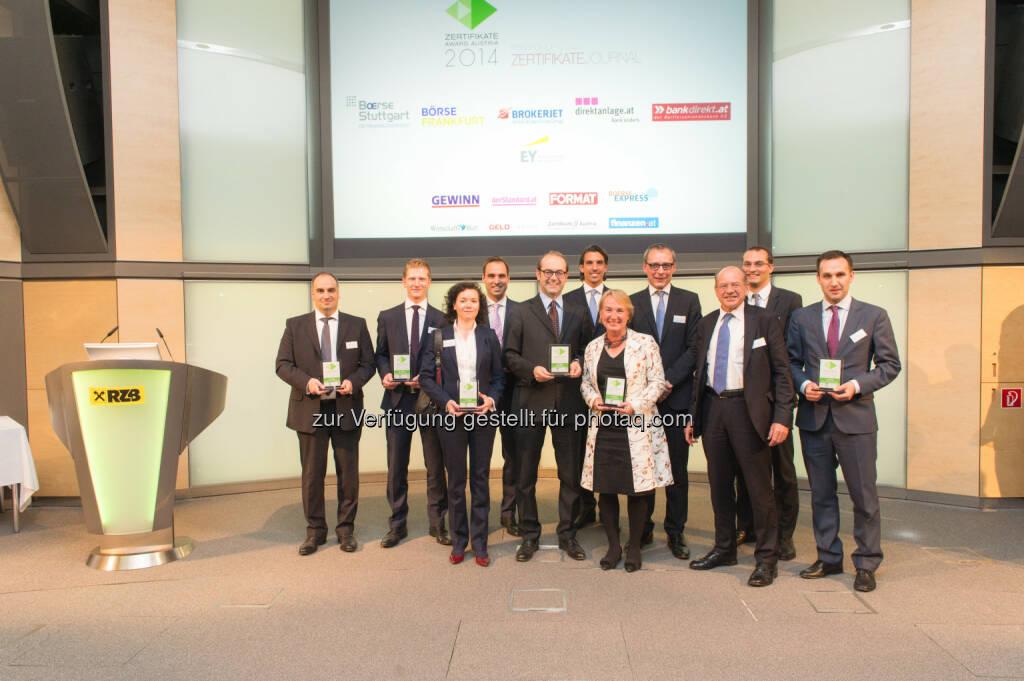 Zertifikate Award Austria, Sieger 2014: RCB-Team (c) Zertifikate Forum Austria, © Martina Draper für Börse Express (16.05.2014)